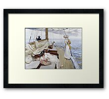 Raoul Du Gardier - Calme Blanc (White Calm). Sea landscape: sea view, yacht, women,  man, seaside, waves, marin, seascape, sun , clouds, ocean Framed Print