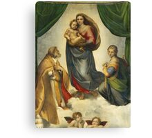 Raphael - The Sistine Madonna. Woman portrait: female,  jesus, madonna, religion, saint, sistine,  baby,  bible, love,  motherly, virgin mary Canvas Print
