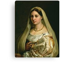 Raphael - The Veiled Woman, Or La Donna Velata. Woman portrait: sensual woman, donna, lady,  dame, femine, beautiful dress, cute, creativity, love, sexy lady, erotic pose Canvas Print