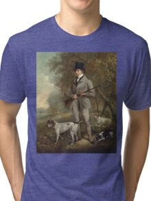 Philip Reinagle - John Hind. Hunter painting: hunting man, nature, male, forest, wild life, masculine, dogs, hunt, manly, hunters men, hunter Tri-blend T-Shirt