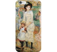 Pierre-Auguste Renoir - Children On The Seashore, Guernsey. Seashore landscape: sea view, children, girl, girls, sisters, boy and girl, boy, dress,  hat, holiday, tenderness iPhone Case/Skin