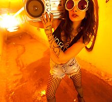 Yellow Tunnel Boombox Girl by btphoto