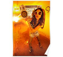 Yellow Tunnel Boombox Girl Poster