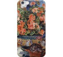Pierre-Auguste Renoir - Geraniums And Cats. Still life with flowers: still life with flowers,  flower arrangement, blossom,  flowers, Geraniums,  pot , china,  passion,  bowl, cats, ball of wool iPhone Case/Skin