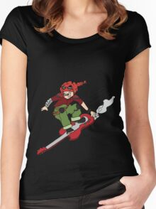 Poppy on the guitar board Women's Fitted Scoop T-Shirt