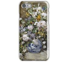 Pierre-Auguste Renoir - Spring Bouquet. Still life with flowers: vase, spring , blossom, bouquet,  flowers,  peony, peonies,  iris, lavender, lilacs, lilac iPhone Case/Skin