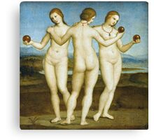 Raphael - The Three Graces. Women portrait: Three Graces, women,  feminine, pretty women, femine, beautiful, greek, mythology, love, sexy , erotic Canvas Print