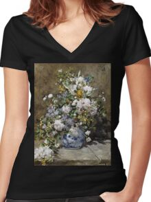 Pierre-Auguste Renoir - Spring Bouquet. Still life with flowers: vase, spring , blossom, bouquet,  flowers,  peony, peonies,  iris, lavender, lilacs, lilac Women's Fitted V-Neck T-Shirt