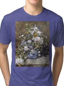 Pierre-Auguste Renoir - Spring Bouquet. Still life with flowers: vase, spring , blossom, bouquet,  flowers,  peony, peonies,  iris, lavender, lilacs, lilac Tri-blend T-Shirt