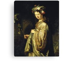Rembrandt Van Rijn - Saskia As Flora. Woman portrait:  woman, girly art, goddess, wife, young, beautiful dress, earrings, hair, headdress, sexy lady, erotic pose Canvas Print