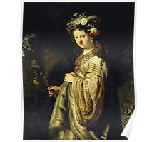 Rembrandt Van Rijn - Saskia As Flora. Woman portrait:  woman, girly art, goddess, wife, young, beautiful dress, earrings, hair, headdress, sexy lady, erotic pose Poster