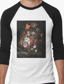 Rachel Ruysch - Flowers In A Glass Vase. Still life with flowers:  bouquet, flowers, bumblebee , carnations, peonies, roses, tulips,  marigolds,  life, garden, blossom Men's Baseball ¾ T-Shirt