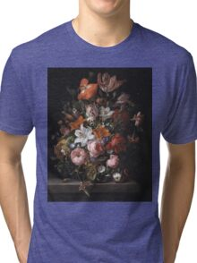 Rachel Ruysch - Flowers In A Glass Vase. Still life with flowers:  bouquet, flowers, bumblebee , carnations, peonies, roses, tulips,  marigolds,  life, garden, blossom Tri-blend T-Shirt