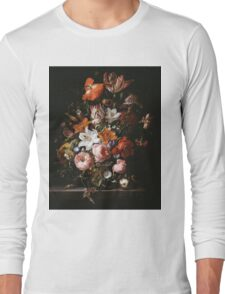 Rachel Ruysch - Flowers In A Glass Vase1704 . Still life with flowers:  bouquet, flowers, bumblebee , carnations, peonies, roses, tulips,  marigolds,  life, garden, blossom Long Sleeve T-Shirt