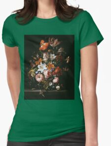 Rachel Ruysch - Flowers In A Glass Vase1704 . Still life with flowers:  bouquet, flowers, bumblebee , carnations, peonies, roses, tulips,  marigolds,  life, garden, blossom Womens Fitted T-Shirt