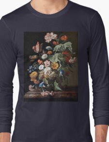 Rachel Ruysch - Still-Life With Flowers . Still life with flowers:  bouquet, flowers, bumblebee , carnations, peonies, roses, tulips,  marigolds,  life, garden, blossom Long Sleeve T-Shirt