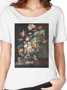 Rachel Ruysch - Still-Life With Flowers . Still life with flowers:  bouquet, flowers, bumblebee , carnations, peonies, roses, tulips,  marigolds,  life, garden, blossom Women's Relaxed Fit T-Shirt