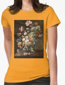 Rachel Ruysch - Still-Life With Flowers . Still life with flowers:  bouquet, flowers, bumblebee , carnations, peonies, roses, tulips,  marigolds,  life, garden, blossom Womens Fitted T-Shirt