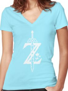 The Legend of Zelda Z-Logo (Transparent/White) Women's Fitted V-Neck T-Shirt