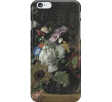 Rachel Ruysch - Vase Of Flowers. Still life with flowers:  bouquet, flowers, bumblebee , carnations, peonies, roses, tulips,  marigolds,  life, garden, blossom iPhone Case/Skin
