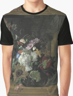 Rachel Ruysch - Vase Of Flowers. Still life with flowers:  bouquet, flowers, bumblebee , carnations, peonies, roses, tulips,  marigolds,  life, garden, blossom Graphic T-Shirt