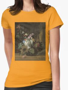 Rachel Ruysch - Vase Of Flowers. Still life with flowers:  bouquet, flowers, bumblebee , carnations, peonies, roses, tulips,  marigolds,  life, garden, blossom Womens Fitted T-Shirt