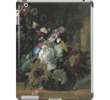 Rachel Ruysch - Vase Of Flowers. Still life with flowers:  bouquet, flowers, bumblebee , carnations, peonies, roses, tulips,  marigolds,  life, garden, blossom iPad Case/Skin