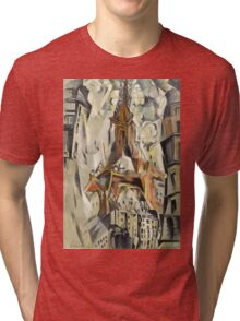 Robert Delaunay - Eiffel Tower. Abstract painting: abstraction, geometric, Eiffel ,  Tower, lines, forms, Circular , music, kaleidoscope, illusion, fantasy future Tri-blend T-Shirt
