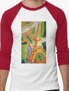Robert Delaunay - Eiffel Tower.Tour Eiffel. Abstract painting: Eiffel, Tower , Tour , composition, lines, forms, creative fusion, music, kaleidoscope, illusion, fantasy future Men's Baseball ¾ T-Shirt