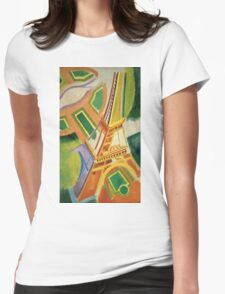 Robert Delaunay - Eiffel Tower.Tour Eiffel. Abstract painting: Eiffel, Tower , Tour , composition, lines, forms, creative fusion, music, kaleidoscope, illusion, fantasy future Womens Fitted T-Shirt