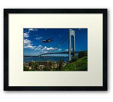 Fat Albert Over The Verrazano Bridge Framed Print