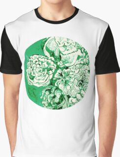green ink flowers Graphic T-Shirt