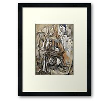 Robert Delaunay - Eiffel Tower With Trees . Abstract painting: Eiffel, Tower , Tour ,  Trees , lines, forms, creative fusion, music, kaleidoscope, illusion, fantasy future Framed Print