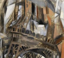 Robert Delaunay - Eiffel Tower With Trees . Abstract painting: Eiffel, Tower , Tour ,  Trees , lines, forms, creative fusion, music, kaleidoscope, illusion, fantasy future Sticker