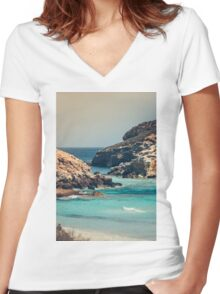The sea Women's Fitted V-Neck T-Shirt