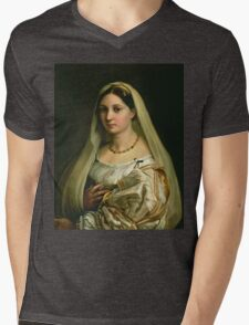 Raphael - The Veiled Woman, Or La Donna Velata. Woman portrait: sensual woman, donna, lady,  dame, femine, beautiful dress, cute, creativity, love, sexy lady, erotic pose Mens V-Neck T-Shirt