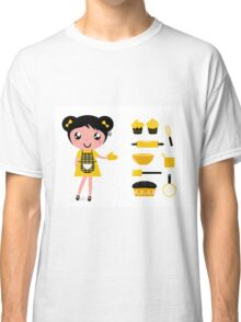 Cute retro cooking woman with items Classic T-Shirt