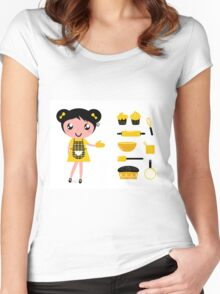 Cute retro cooking woman with items Women's Fitted Scoop T-Shirt