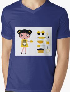 Cute retro cooking woman with items Mens V-Neck T-Shirt