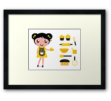 Cute retro cooking woman with items Framed Print