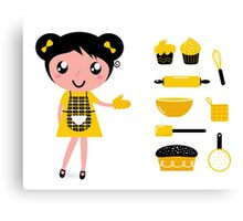 Cute retro cooking woman with items Canvas Print
