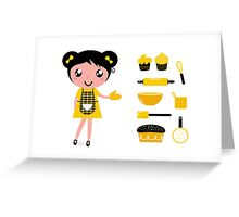 Cute retro cooking woman with items Greeting Card