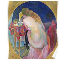 Robert Delaunay - Nude Woman Reading. Abstract painting: abstraction, geometric, Nude Woman, Reading, lines, forms, creative fusion, music, kaleidoscope, illusion, fantasy future Poster