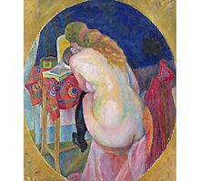 Robert Delaunay - Nude Woman Reading. Abstract painting: abstraction, geometric, Nude Woman, Reading, lines, forms, creative fusion, music, kaleidoscope, illusion, fantasy future Photographic Print