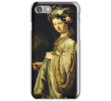 Rembrandt Van Rijn - Saskia As Flora. Woman portrait:  woman, girly art, goddess, wife, young, beautiful dress, earrings, hair, headdress, sexy lady, erotic pose iPhone Case/Skin
