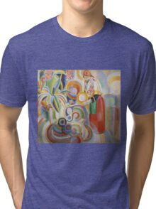 Robert Delaunay - Portuguese Woman. Abstract painting: abstraction, geometric,  Woman, composition, lines, forms, Portuguese , music, kaleidoscope, illusion, fantasy future Tri-blend T-Shirt