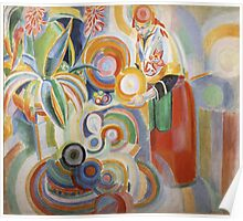 Robert Delaunay - Portuguese Woman. Abstract painting: abstraction, geometric,  Woman, composition, lines, forms, Portuguese , music, kaleidoscope, illusion, fantasy future Poster