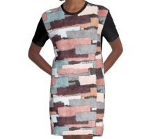 Colorful Patches Abstract Graphic T-Shirt Dress