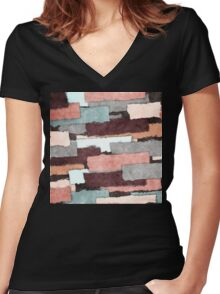 Colorful Patches Abstract Women's Fitted V-Neck T-Shirt