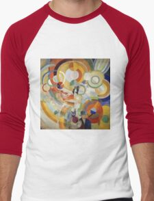 Robert Delaunay - Carousel With Pigs . Abstract painting: abstraction, geometric, expressionism, composition, lines, forms,  Pig , Carousel , music, kaleidoscope, fantasy future Men's Baseball ¾ T-Shirt